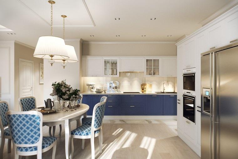decoracion cocinas pequenas armarios sillas azul blanco ideas