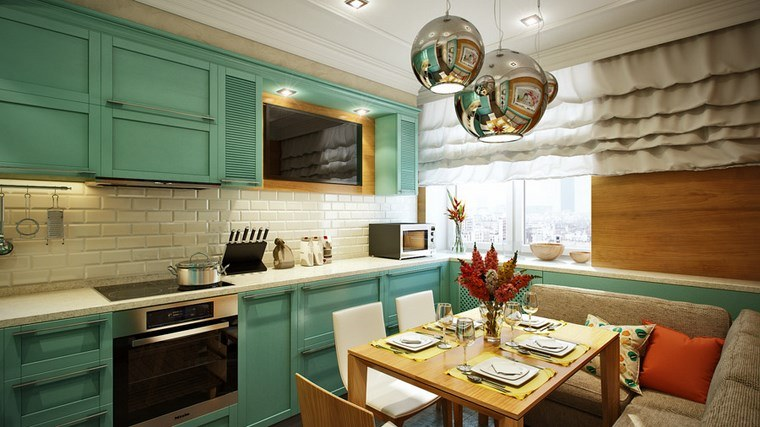 decoracion cocinas pequeñas armarios verdes mesa madera ideas
