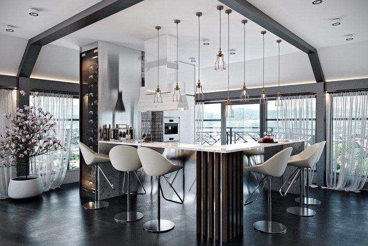 decoracion cocinas pequeñas barra sillas altas ideas