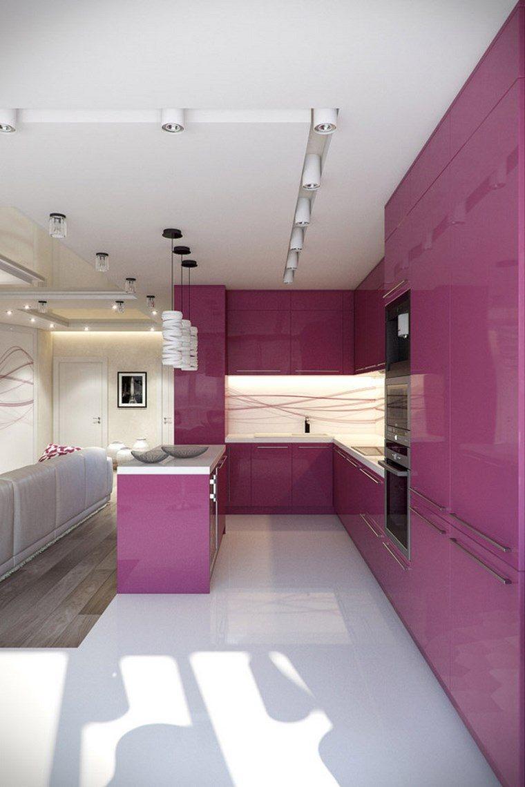 decoracion cocinas pequeñas diseno femenino color purpura ideas