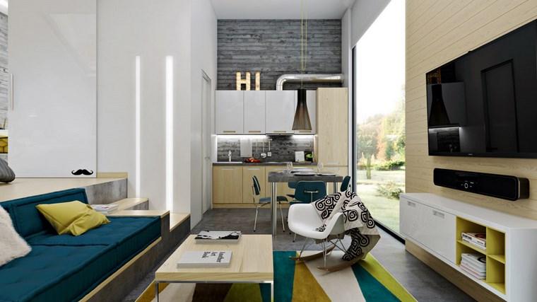decorar cocinas pequenas espacio estrecho casa colorida ideas