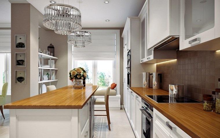 decorar cocinas pequenas espacio estrecho encimeras madera ideas