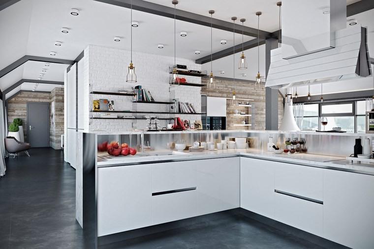 decorar cocinas pequenas estanterias abiertas diseno moderno ideas