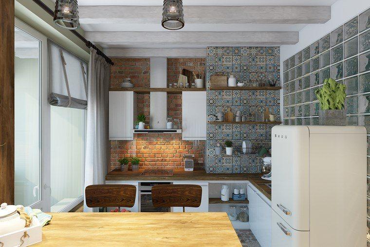 decorar cocinas pequenas estanterias abiertas madera ideas