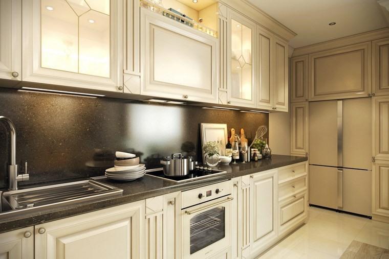 decorar cocinas pequenas muebles blancos madera estilo ideas