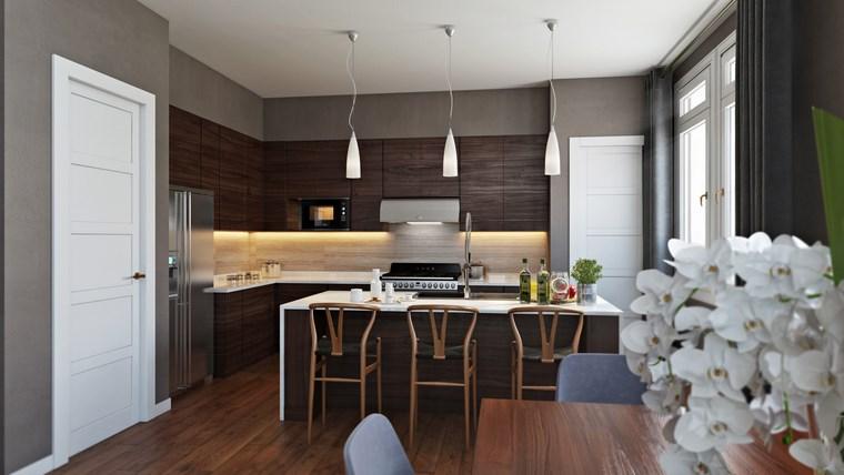 decorar cocinas pequenas muebles madera ideas
