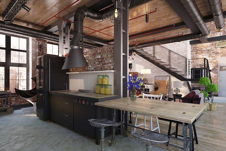 decorar cocinas pequenas muebles negros armarios madera ideas