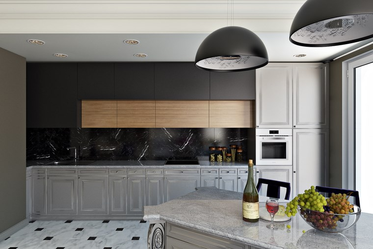 decorar cocinas pequenas pared marmol negro ideas