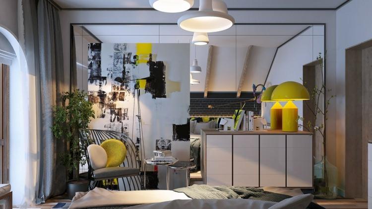 decorar con arte habitacion amarillo lamparas