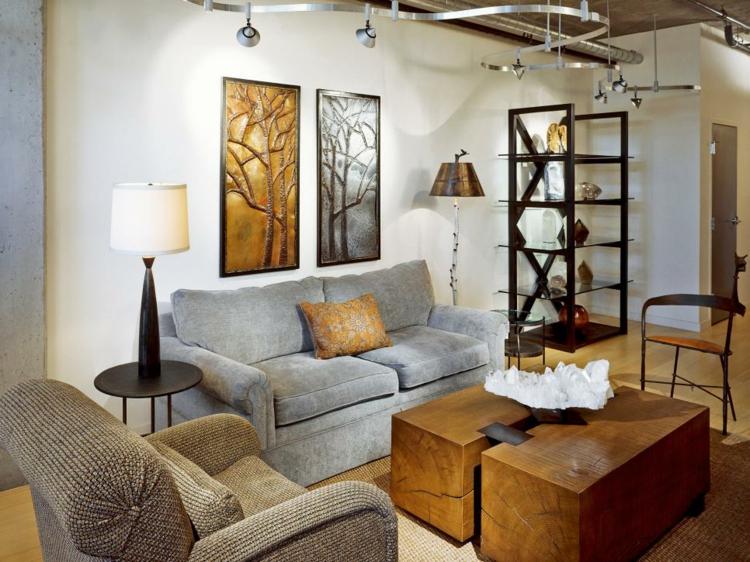 decorar con arte habitacion cuadros ramas metales