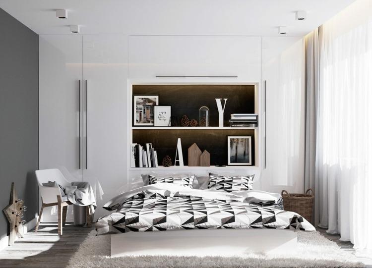 decorar con arte habitacion detalles grises suelos