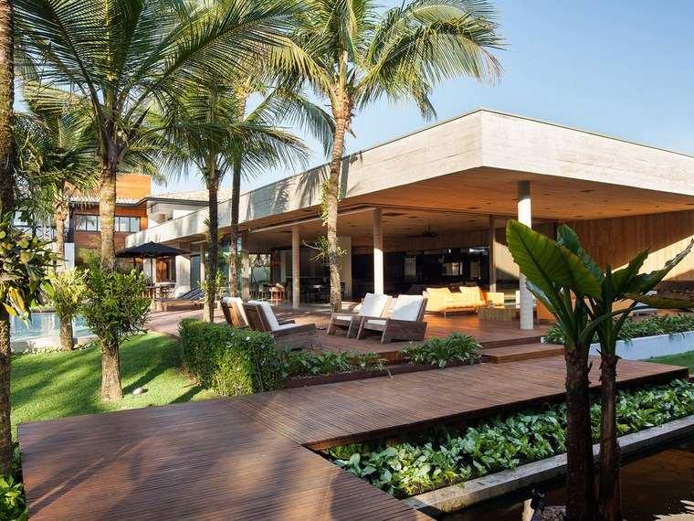 decorar terraza diseno tropical suelo madera ideas