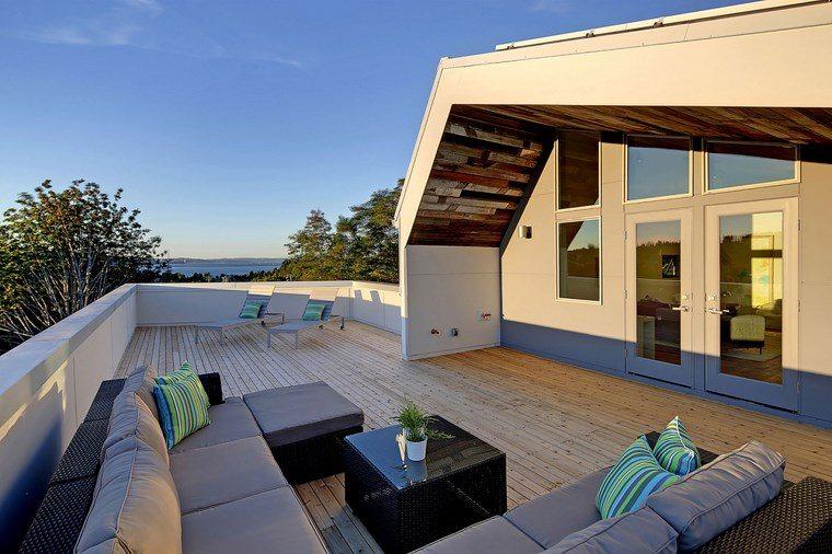 decorar terraza muebles negro gris ideas