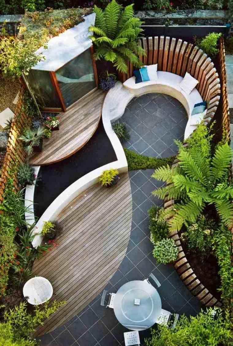 decorar terrazas pequeñas suelo madera bancos ideas