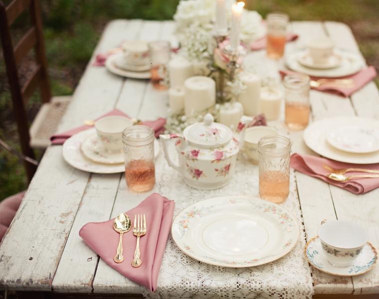mesa jardin boda vintage