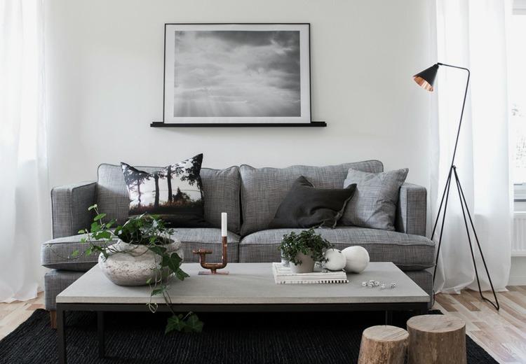 diseño decoración sofá gris