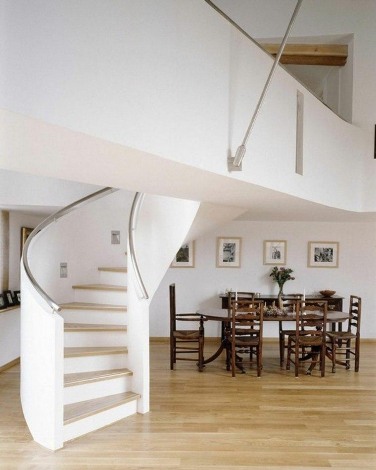 diseo escaleras caracol blancas escalones de madera natural