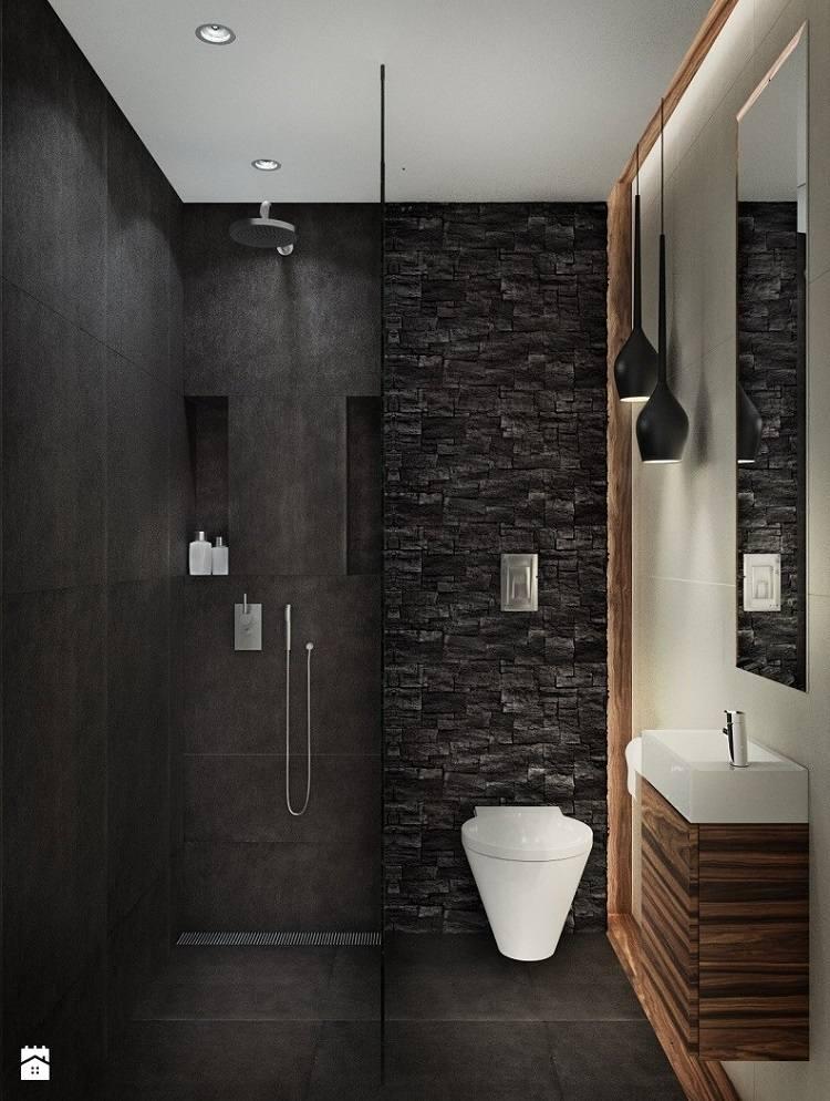 cuarto bao pequei negro estupendo diseo moderno aseo