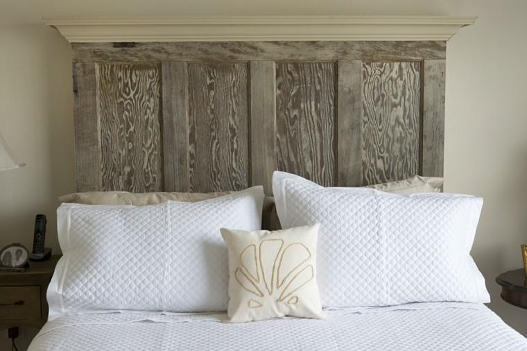 diseño cabecero cama puerta madera