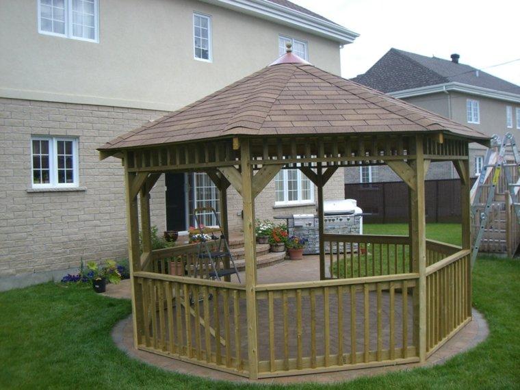 diseño cenador madera plazoleta cubierta