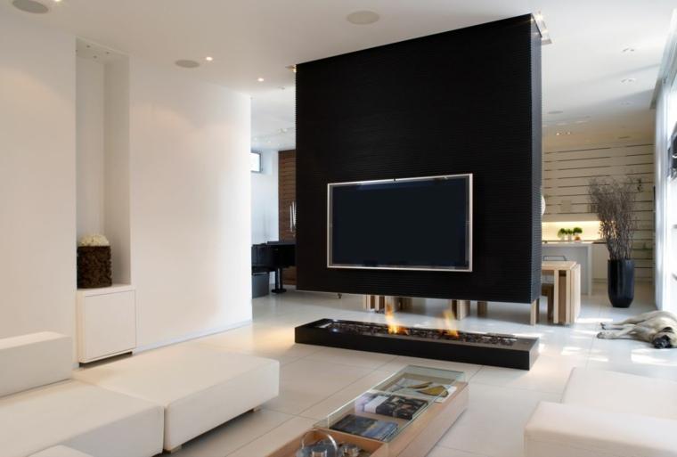 diseño chimenea muro negro tv
