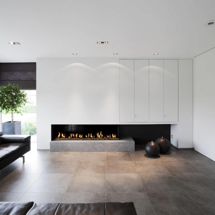 diseño chimenea obra moderna salón