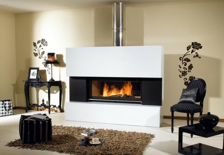 diseño chimenea color blanco moderna