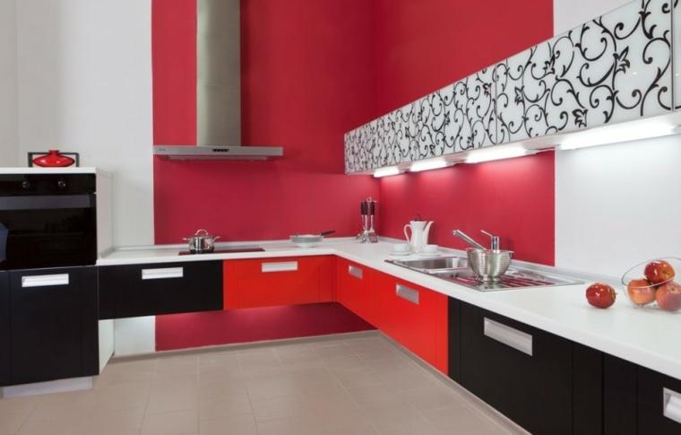 diseño cocina roja original estilo