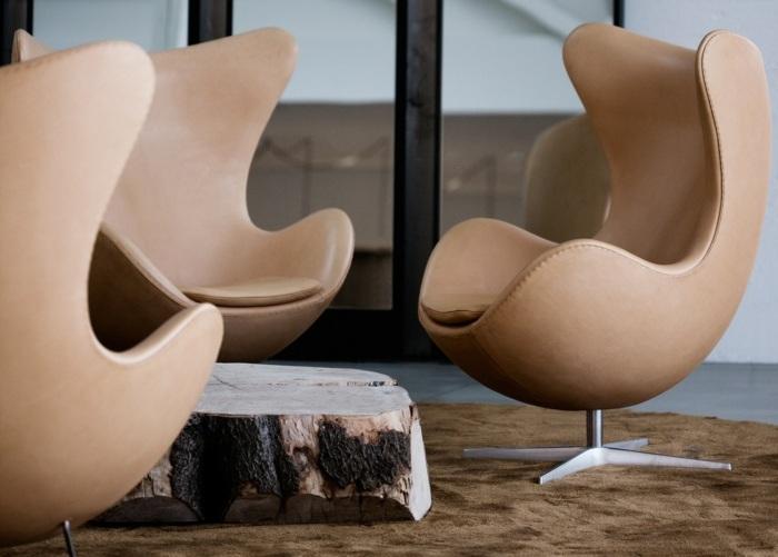 diseño elegante piezas comedores cuero marrones maderas