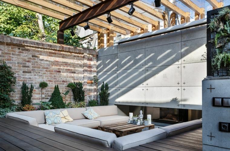 diseño gradas sala de estar exterior