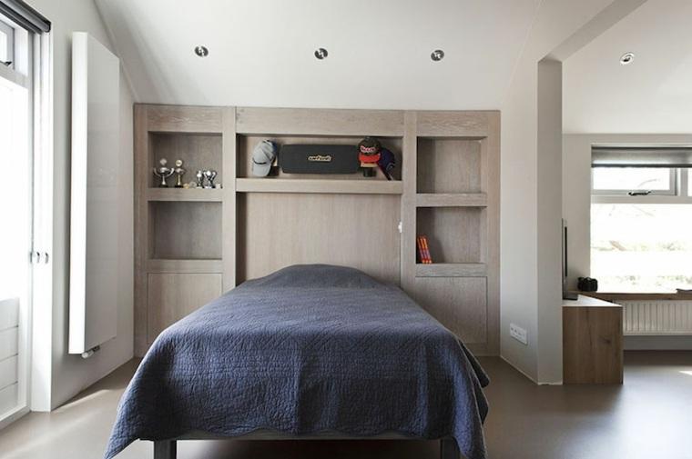 diseño habitación cabecero madera