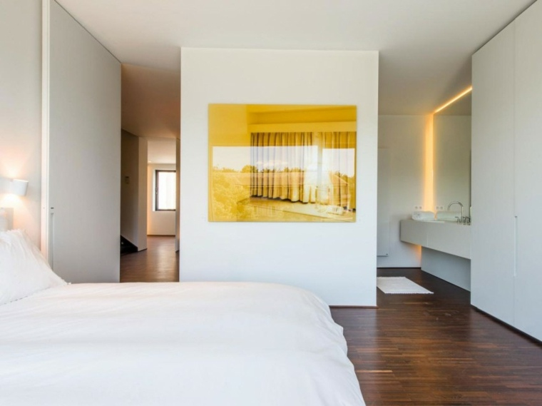 diseño interior habitación blanco madera