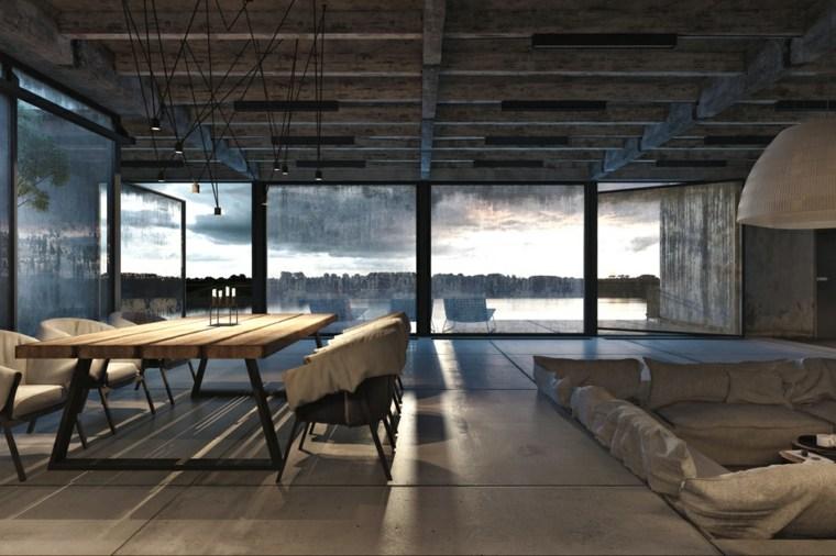 diseño moderno salon comedor industrial