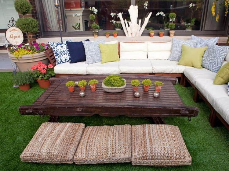 diseño moderno terraza hierba césped
