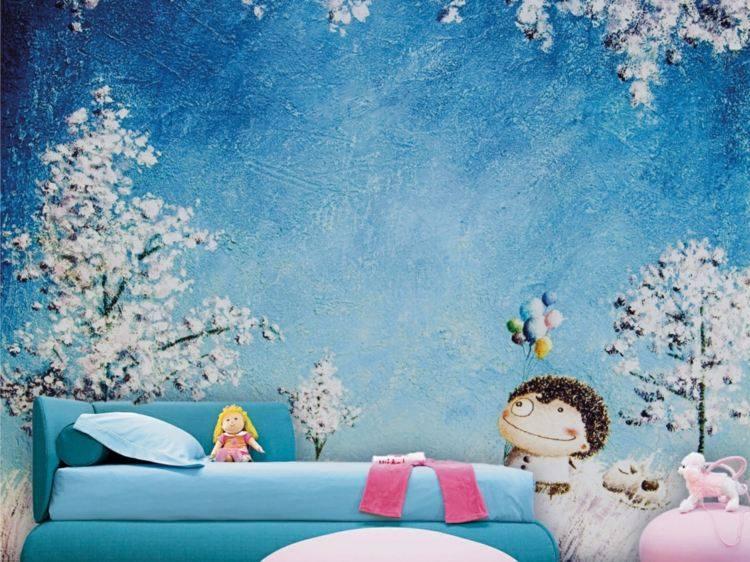 diseño papel pared infantil azul