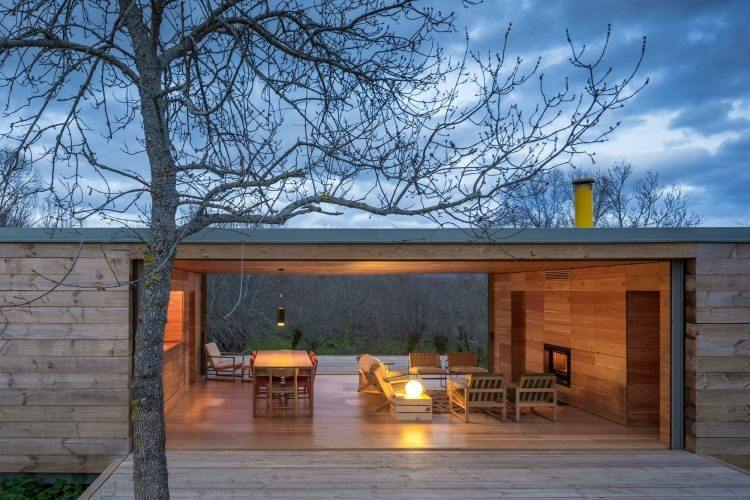 diseño porche estilo moderno madera