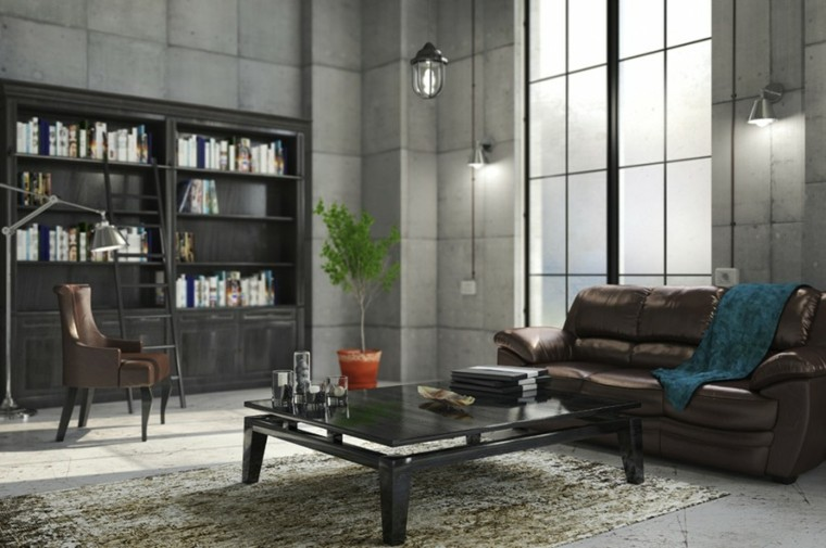 diseño sala estar mueble biblioteca