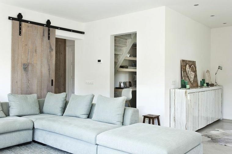 Maderas rusticas para decorar interiores 38 ideas - Puertas correderas para salon ...