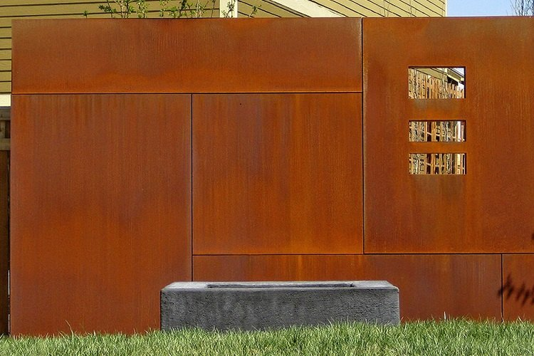 vallas jardin acero moderno