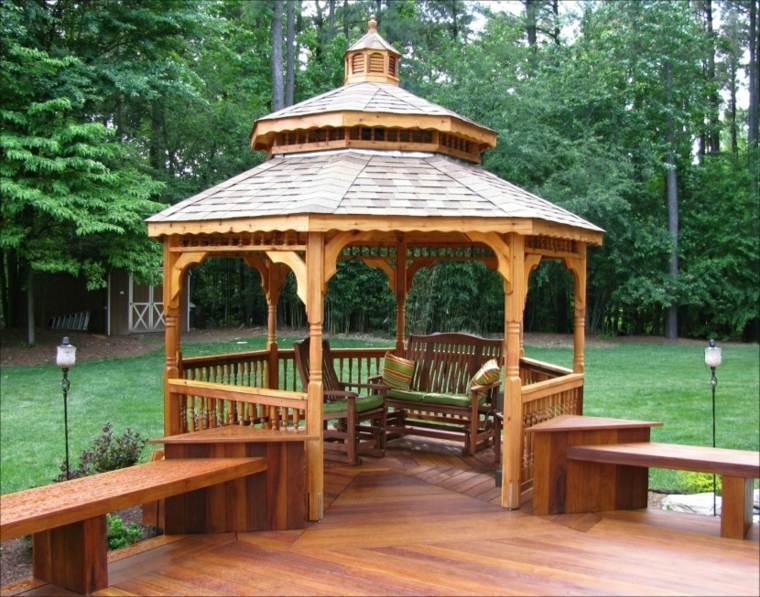 diseño cenador madera forma esquina