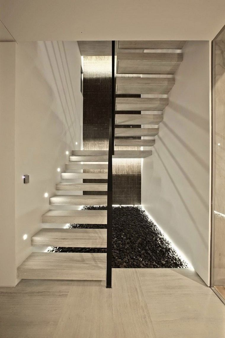 escaleras de interior modernas 50 dise os que marcan tendencia. Black Bedroom Furniture Sets. Home Design Ideas