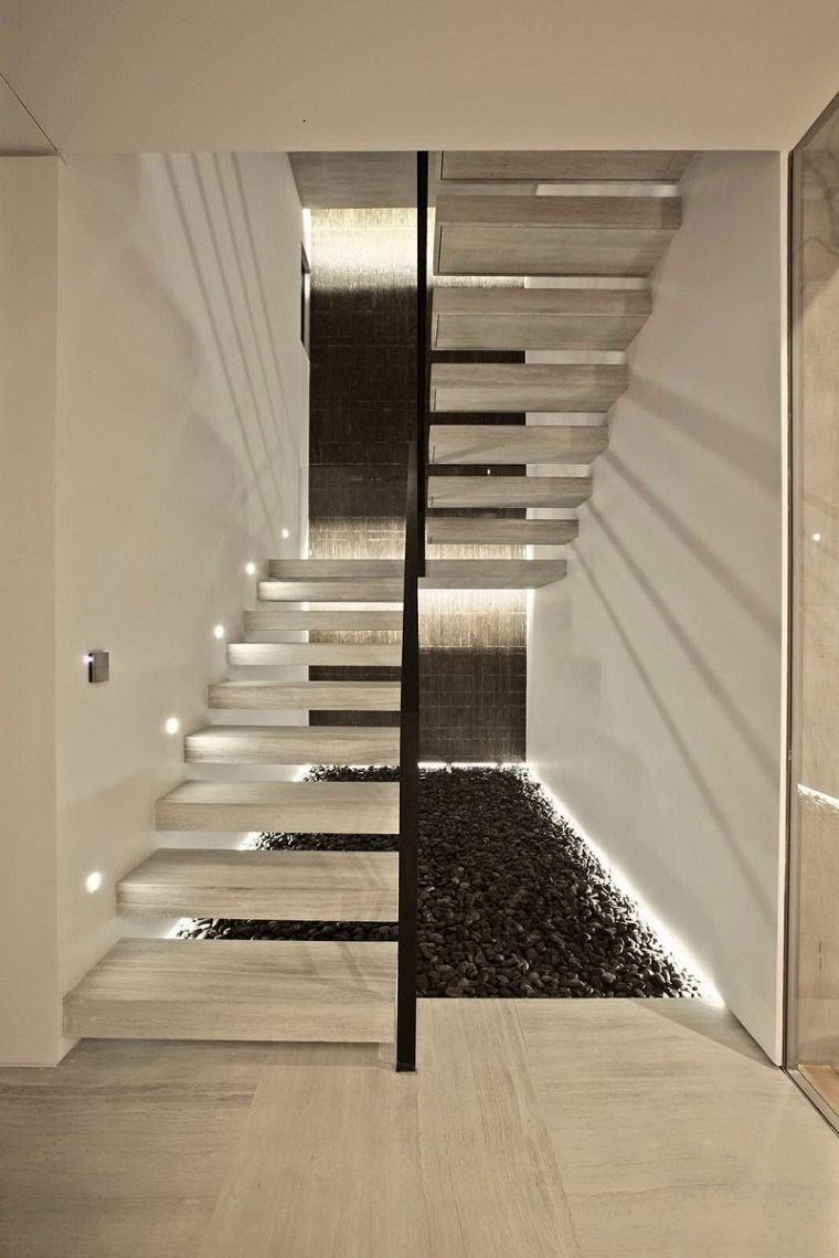 Escaleras de interior modernas 50 dise os que marcan - Material para escaleras interior ...