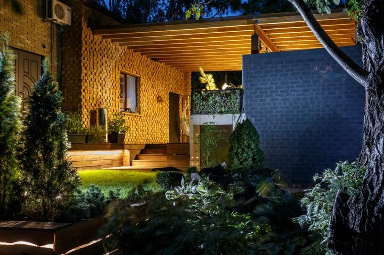 diseños salones exteriores modernmos chimenea