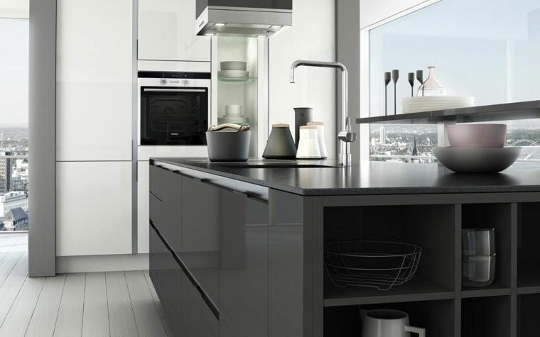 diseños modernos muebles cocinas grises