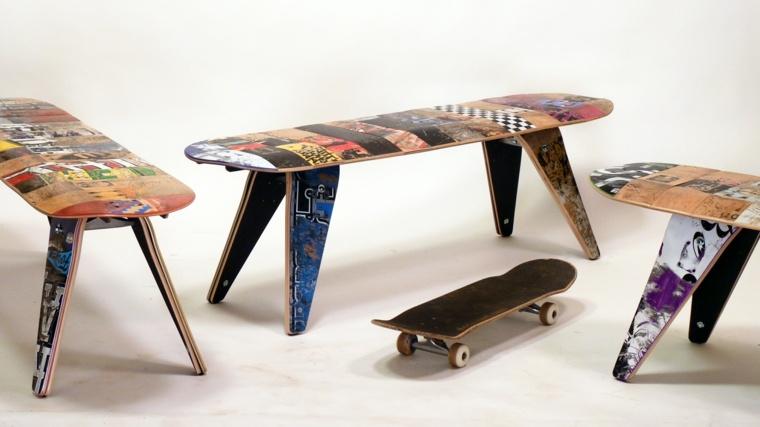 diseños originales muebles reciclados tablas