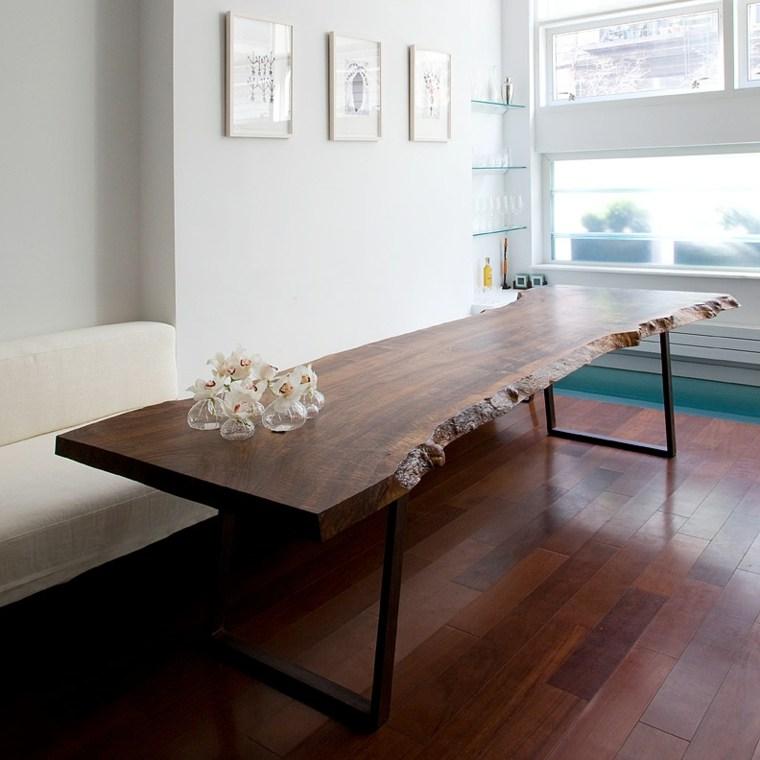 Mesas de comedor modernas de madera maciza 50 ideas for Mesas de comedor madera natural