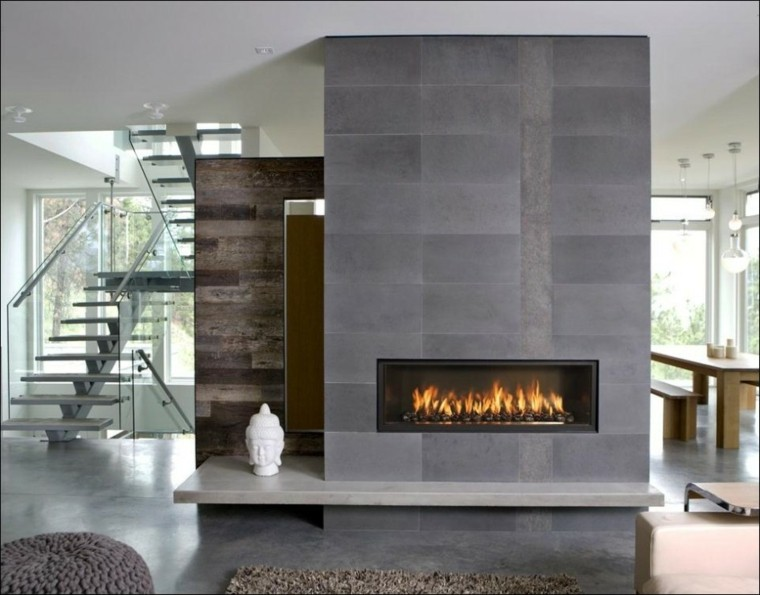 diseño moderno chimenea salón deco