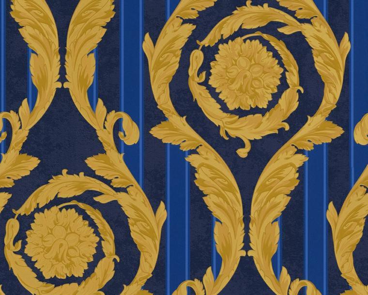 papel pintado barroco bandas azules