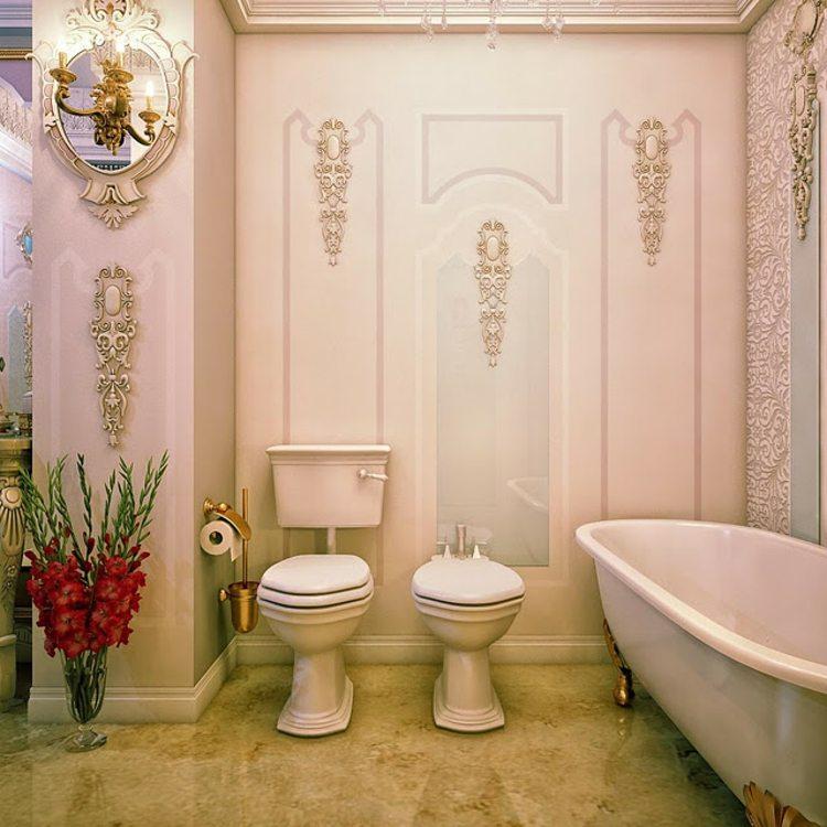 dorados baño detalles espejos flores rosa