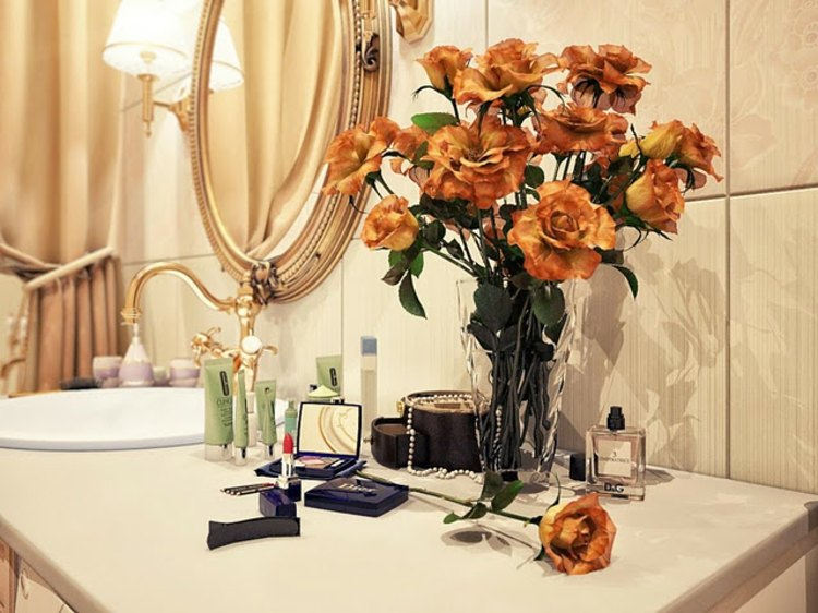 dorados baño detalles espejos fresco